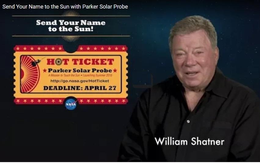 Shatner faz promoção da primeira missão diretamente ao sol